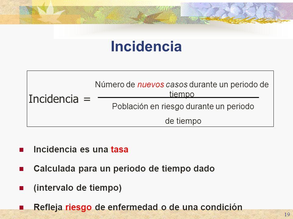 19 Incidencia Incidencia es una tasa Calculada para un periodo de tiempo dado (intervalo de tiempo) Refleja riesgo de enfermedad o de una condición In