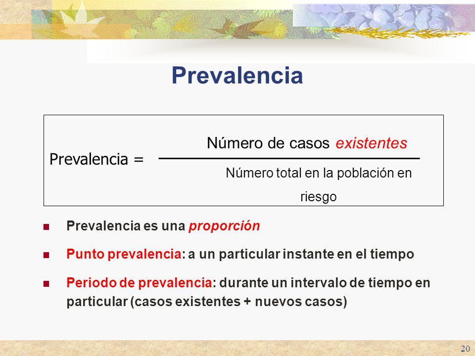 20 Prevalencia Prevalencia es una proporción Punto prevalencia: a un particular instante en el tiempo Periodo de prevalencia: durante un intervalo de