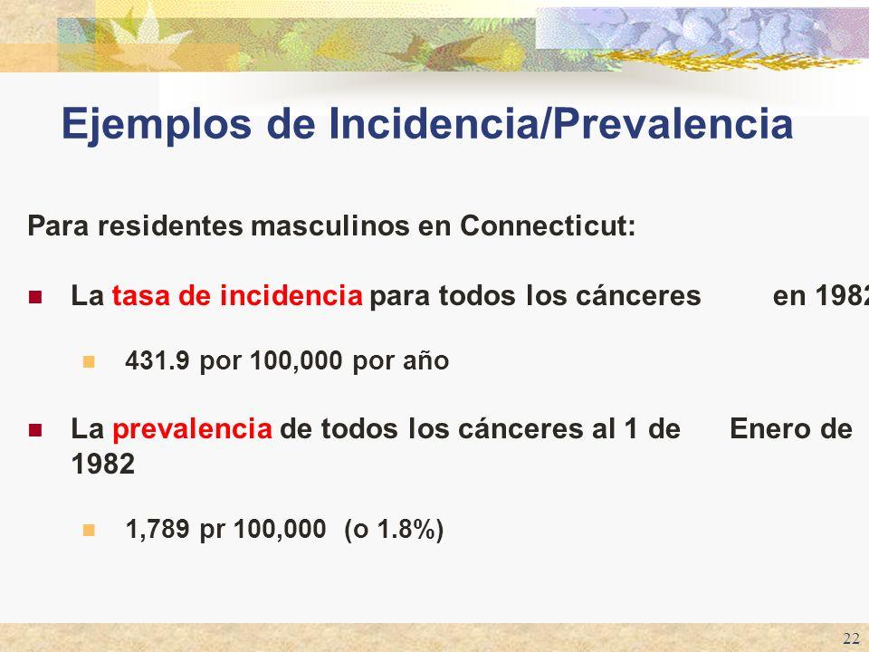 22 Ejemplos de Incidencia/Prevalencia Para residentes masculinos en Connecticut: La tasa de incidencia para todos los cánceres en 1982 431.9 por 100,0