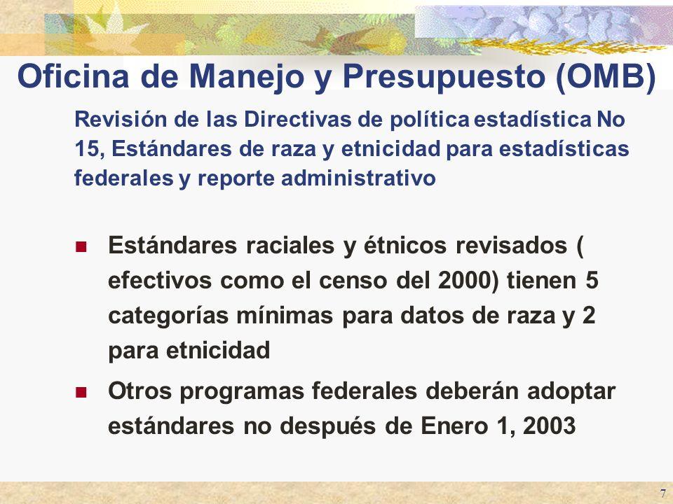 7 Estándares raciales y étnicos revisados ( efectivos como el censo del 2000) tienen 5 categorías mínimas para datos de raza y 2 para etnicidad Otros