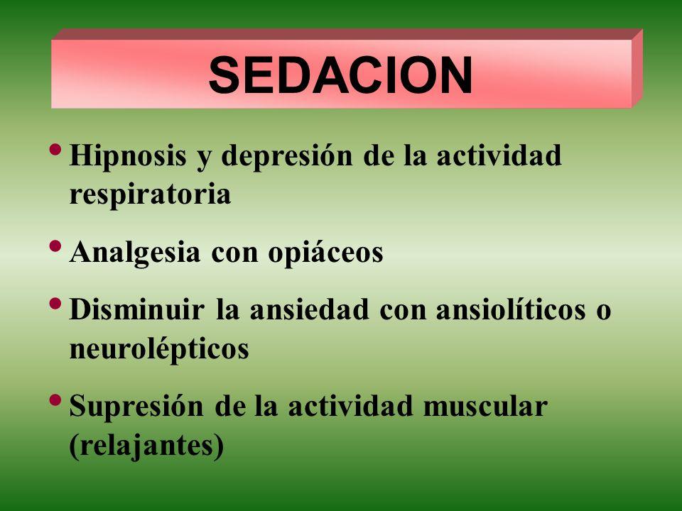 SEDACION Hipnosis y depresión de la actividad respiratoria Analgesia con opiáceos Disminuir la ansiedad con ansiolíticos o neurolépticos Supresión de