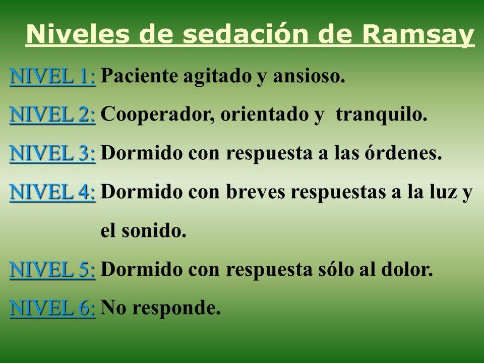 Niveles de sedación de Ramsay NIVEL 1: NIVEL 1: Paciente agitado y ansioso. NIVEL 2: NIVEL 2: Cooperador, orientado y tranquilo. NIVEL 3: NIVEL 3: Dor