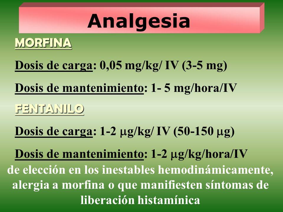 Analgesia MORFINA Dosis de carga: 0,05 mg/kg/ IV (3-5 mg) Dosis de mantenimiento: 1- 5 mg/hora/IV FENTANILO Dosis de carga: 1-2 g/kg/ IV (50-150 g) Do