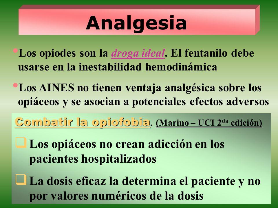Los opiodes son la droga ideal. El fentanilo debe usarse en la inestabilidad hemodinámica Los AINES no tienen ventaja analgésica sobre los opiáceos y
