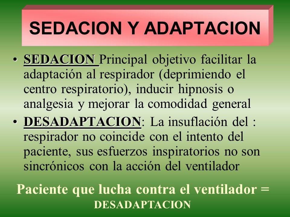 SEDACION Y ADAPTACION SEDACIONSEDACION Principal objetivo facilitar la adaptación al respirador (deprimiendo el centro respiratorio), inducir hipnosis