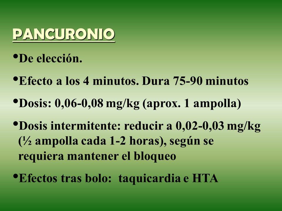 PANCURONIO De elección. Efecto a los 4 minutos. Dura 75-90 minutos Dosis: 0,06-0,08 mg/kg (aprox. 1 ampolla) Dosis intermitente: reducir a 0,02-0,03 m