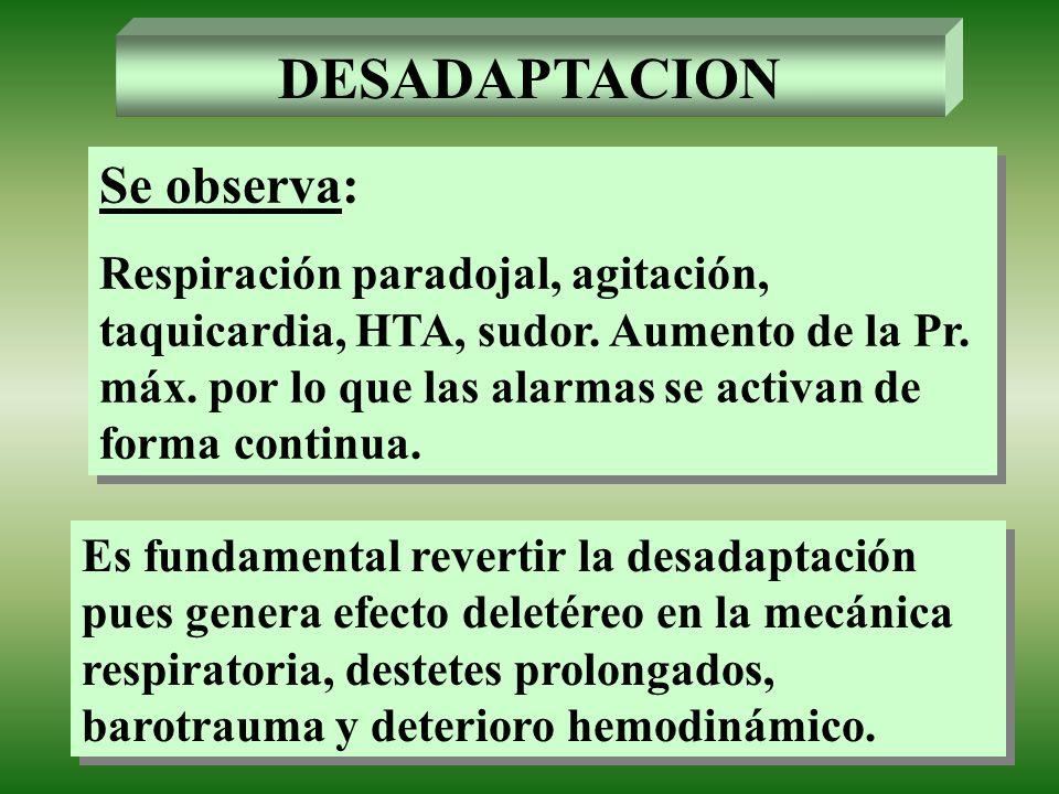 DESADAPTACION Se observa: Respiración paradojal, agitación, taquicardia, HTA, sudor. Aumento de la Pr. máx. por lo que las alarmas se activan de forma