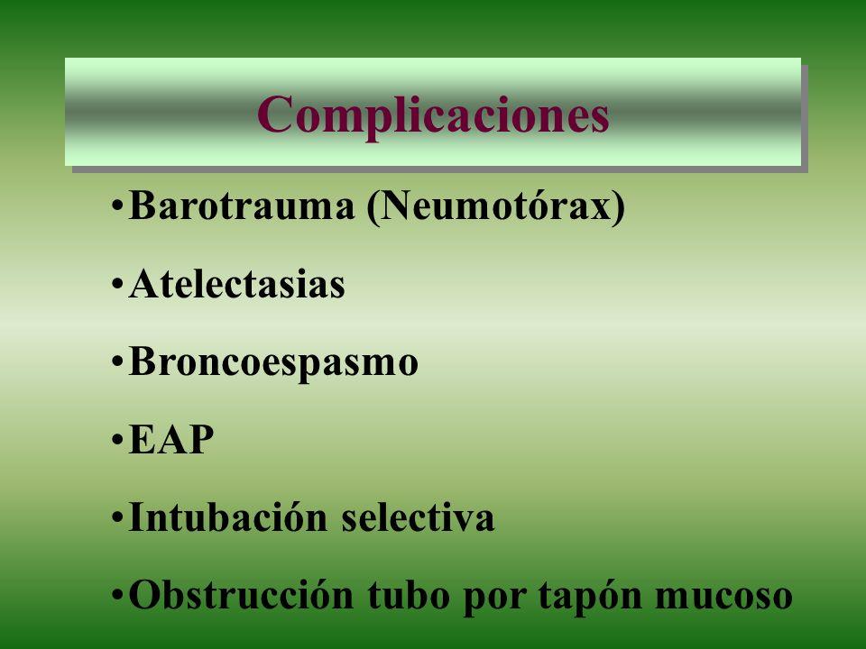 Complicaciones Barotrauma (Neumotórax) Atelectasias Broncoespasmo EAP Intubación selectiva Obstrucción tubo por tapón mucoso