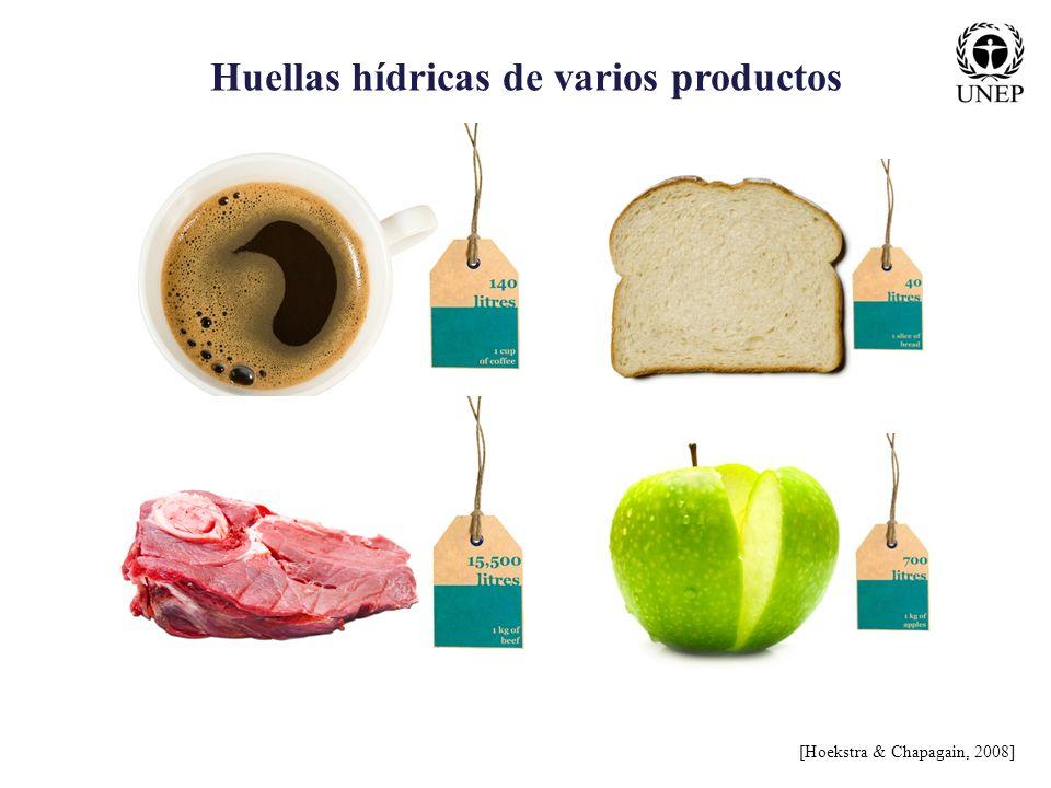 Huellas hídricas de varios productos [Hoekstra & Chapagain, 2008]