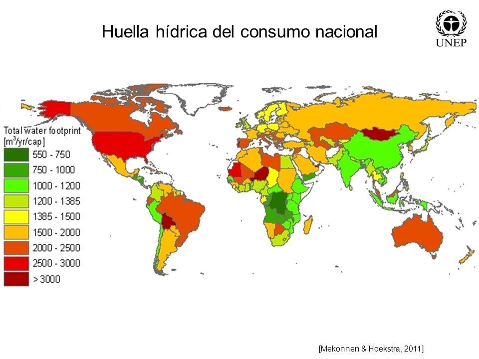 [Mekonnen & Hoekstra, 2011] Huella hídrica del consumo nacional