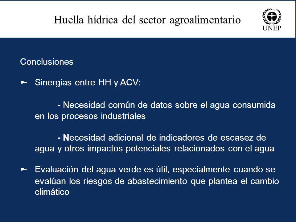 Conclusiones Sinergias entre HH y ACV: - Necesidad común de datos sobre el agua consumida en los procesos industriales - Necesidad adicional de indica