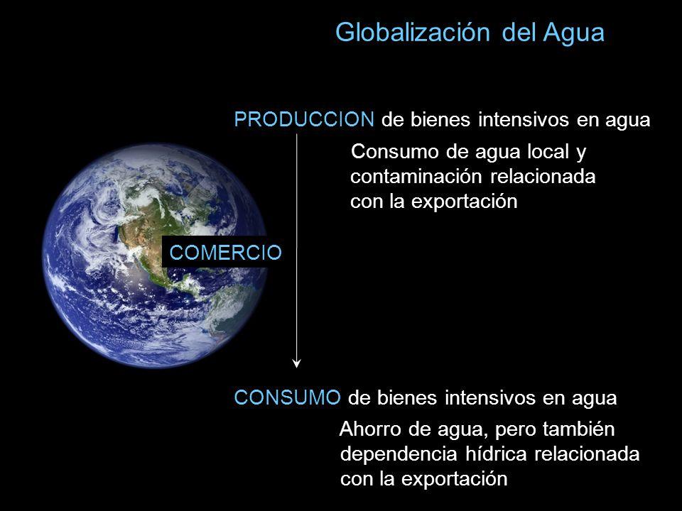 PRODUCCION de bienes intensivos en agua Globalización del Agua Consumo de agua local y contaminación relacionada con la exportación CONSUMO de bienes