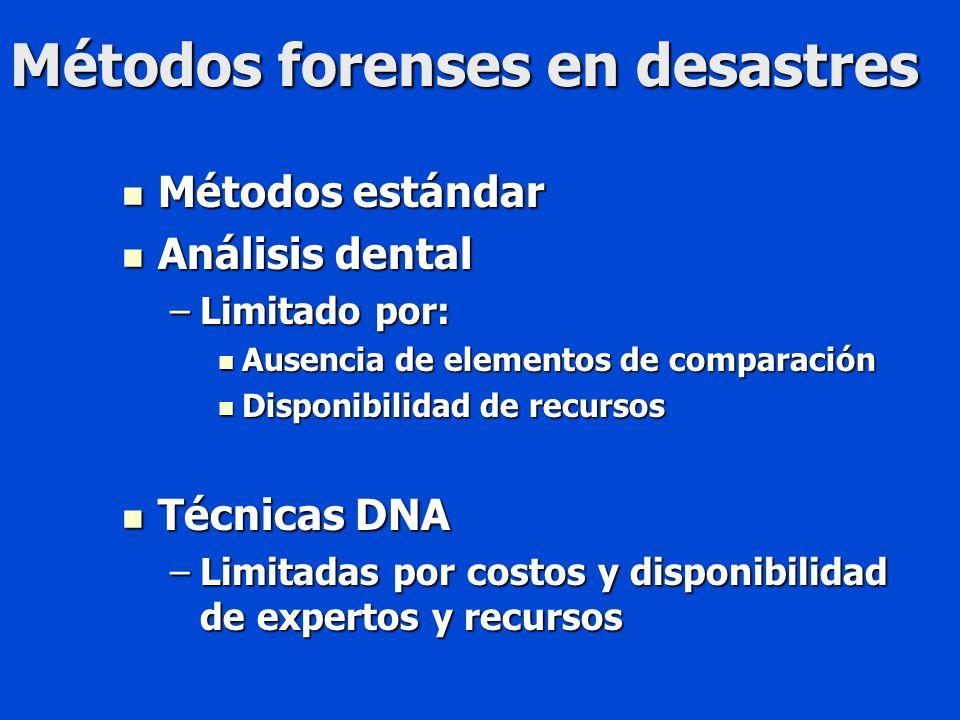 Métodos forenses en desastres Métodos estándar Métodos estándar Análisis dental Análisis dental –Limitado por: Ausencia de elementos de comparación Ausencia de elementos de comparación Disponibilidad de recursos Disponibilidad de recursos Técnicas DNA Técnicas DNA –Limitadas por costos y disponibilidad de expertos y recursos