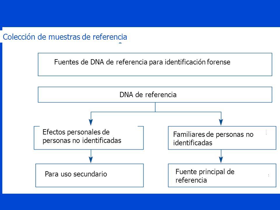 Colección de muestras de referencia Para uso secundario Fuente principal de referencia Efectos personales de personas no identificadas Familiares de personas no identificadas DNA de referencia Fuentes de DNA de referencia para identificación forense