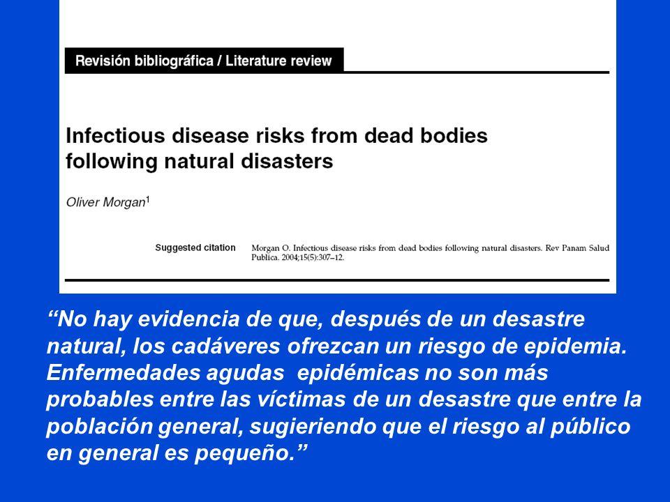 No hay evidencia de que, después de un desastre natural, los cadáveres ofrezcan un riesgo de epidemia.