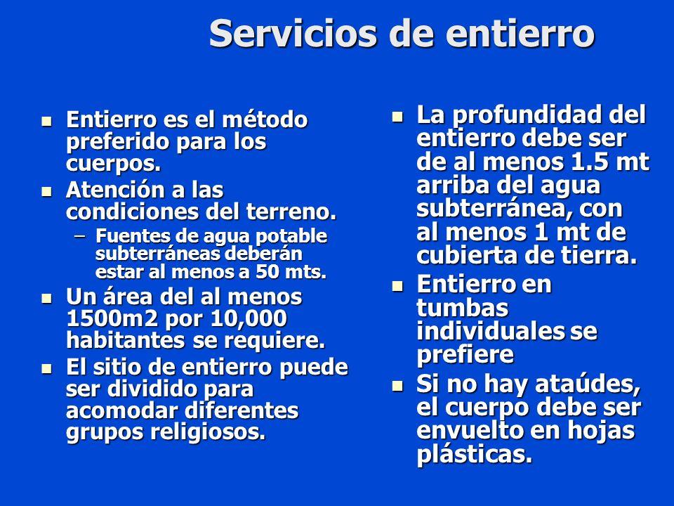 Servicios de entierro Entierro es el método preferido para los cuerpos.