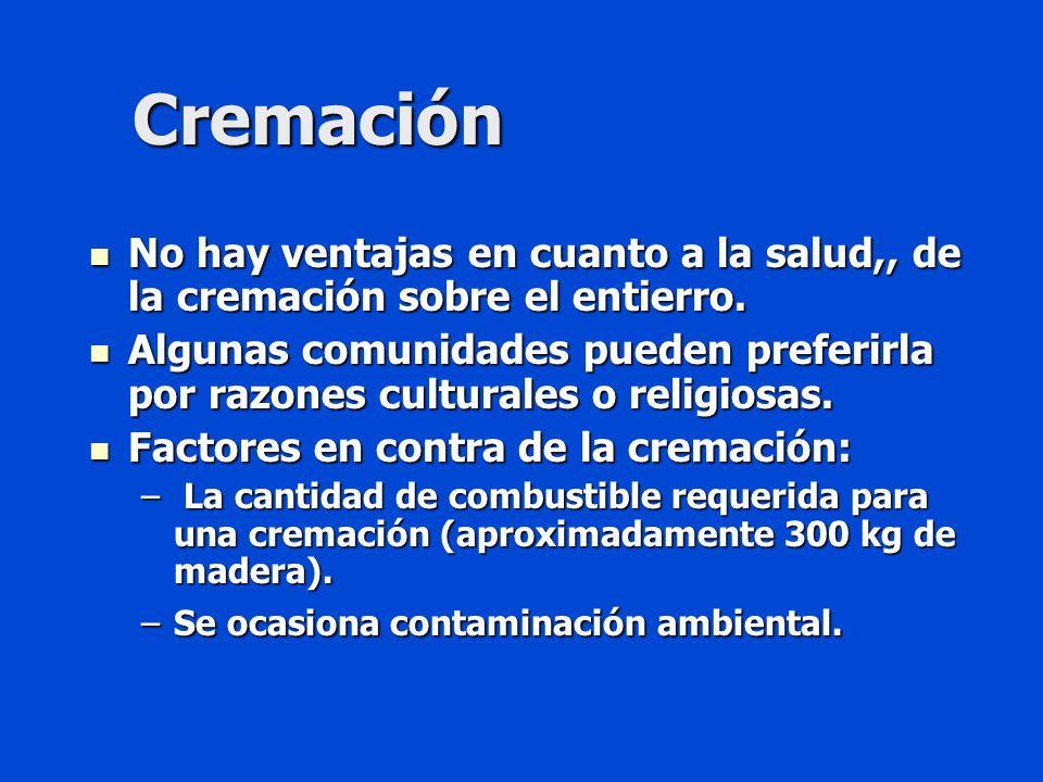 Cremación No hay ventajas en cuanto a la salud,, de la cremación sobre el entierro.