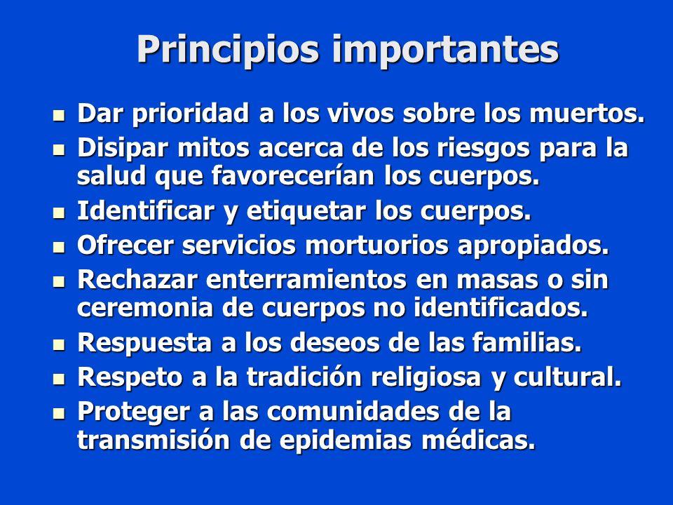Principios importantes Dar prioridad a los vivos sobre los muertos.