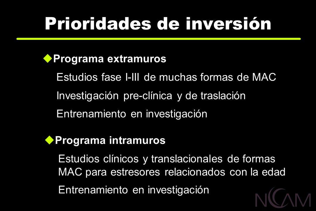 Prioridades de inversión Programa extramuros Estudios fase I-III de muchas formas de MAC Investigación pre-clínica y de traslación Entrenamiento en in