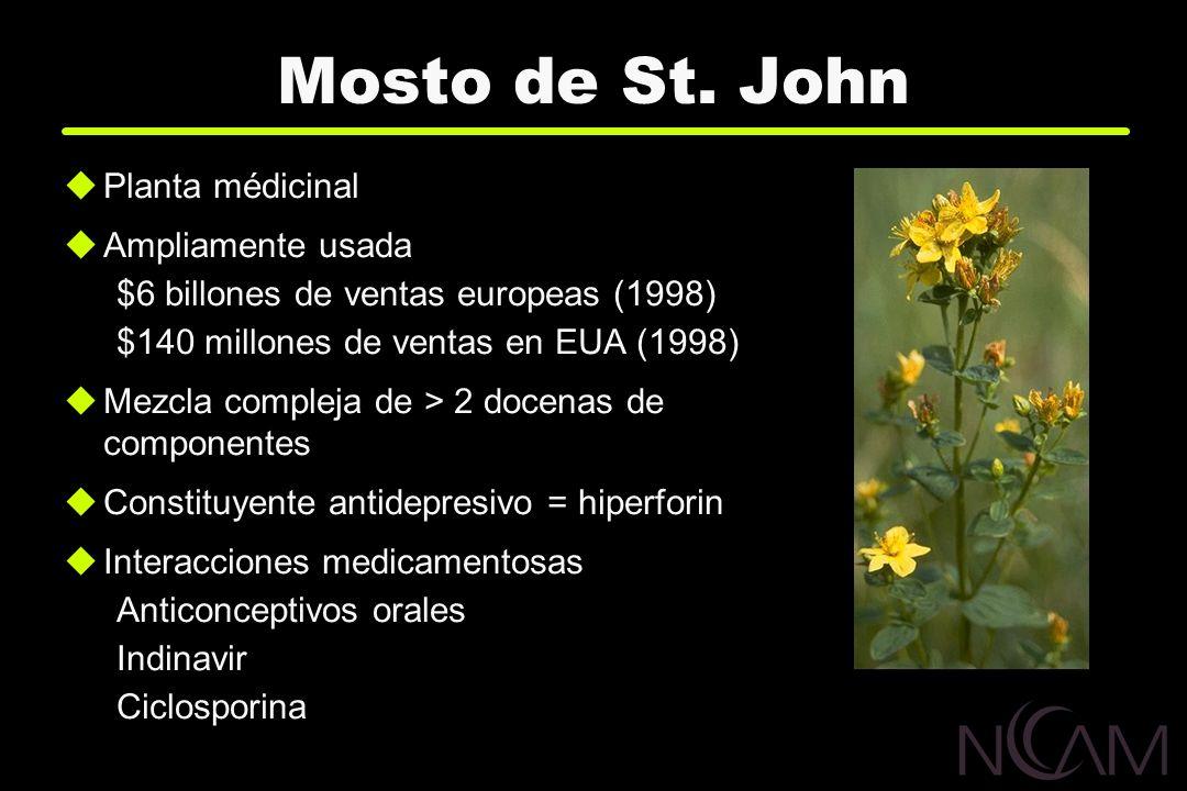 Mosto de St. John Planta médicinal Ampliamente usada $6 billones de ventas europeas (1998) $140 millones de ventas en EUA (1998) Mezcla compleja de >