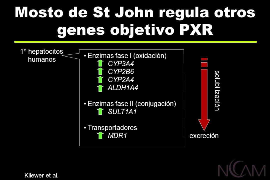 Mosto de St John regula otros genes objetivo PXR Enzimas fase I (oxidación) CYP3A4 CYP2B6 CYP2A4 ALDH1A4 Enzimas fase II (conjugación) SULT1A1 Transpo
