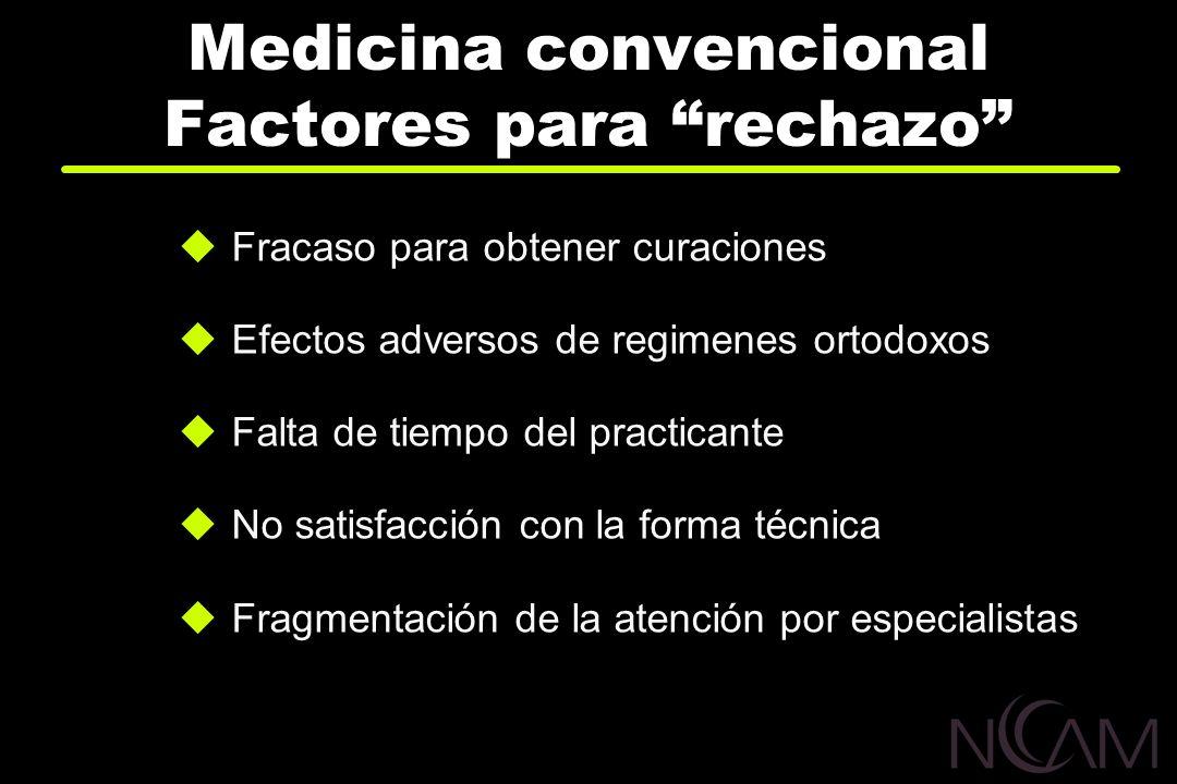 Medicina convencional Factores para rechazo Fracaso para obtener curaciones Efectos adversos de regimenes ortodoxos Falta de tiempo del practicante No