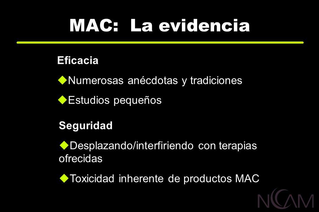 MAC: La evidencia Eficacia Numerosas anécdotas y tradiciones Estudios pequeños Seguridad Desplazando/interfiriendo con terapias ofrecidas Toxicidad in