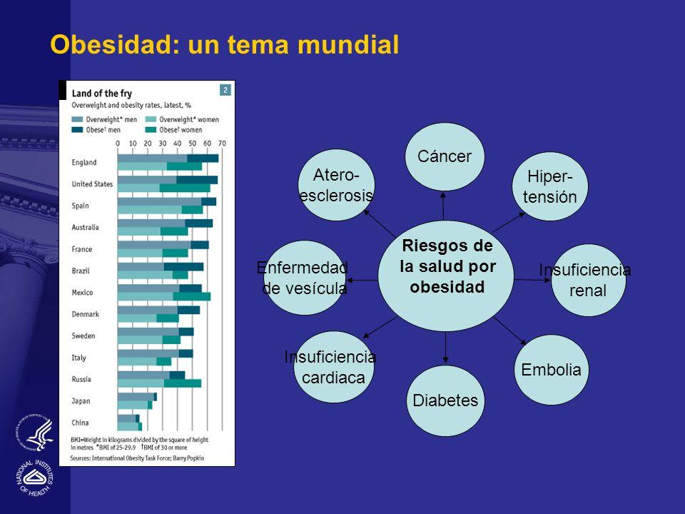 Obesidad: un tema mundial Riesgos de la salud por obesidad Cáncer Diabetes Hiper- tensión Enfermedad de vesícula Insuficiencia renal Embolia Insuficie