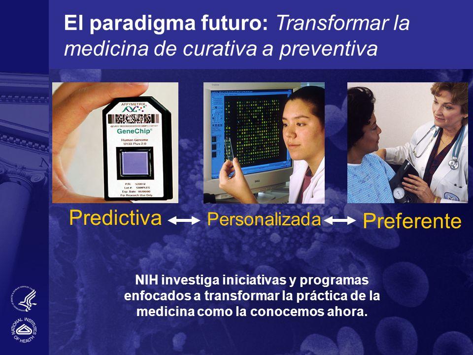 El paradigma futuro: Transformar la medicina de curativa a preventiva Preferente Personalizada Predictiva NIH investiga iniciativas y programas enfoca