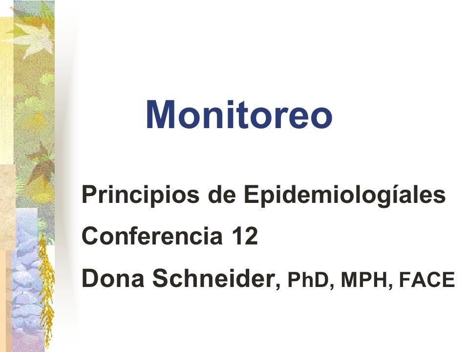 Monitoreo Principios de Epidemiologíales Conferencia 12 Dona Schneider, PhD, MPH, FACE