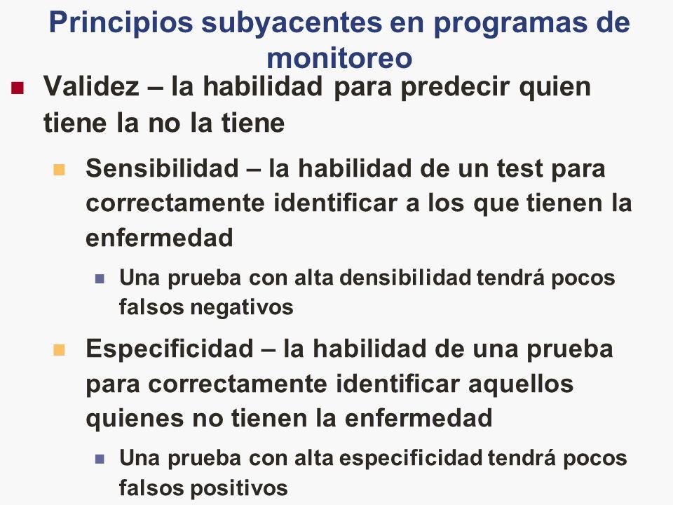 Principios subyacentes en programas de monitoreo Validez – la habilidad para predecir quien tiene la no la tiene Sensibilidad – la habilidad de un tes