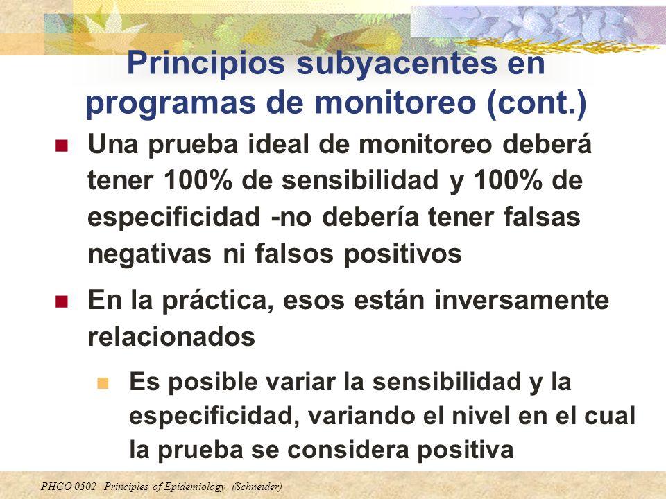 PHCO 0502 Principles of Epidemiology (Schneider) Principios subyacentes en programas de monitoreo (cont.) Una prueba ideal de monitoreo deberá tener 1