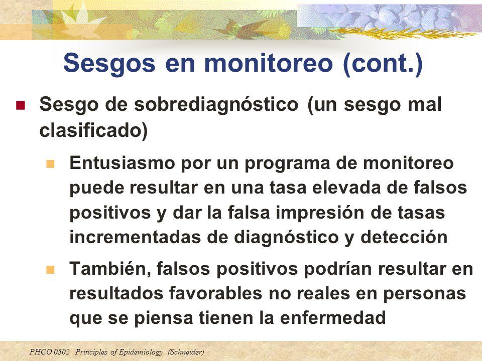 PHCO 0502 Principles of Epidemiology (Schneider) Sesgos en monitoreo (cont.) Sesgo de sobrediagnóstico (un sesgo mal clasificado) Entusiasmo por un pr