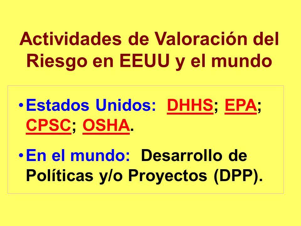 Actividades de Valoración del Riesgo en EEUU y el mundo Estados Unidos: DHHS; EPA; CPSC; OSHA.DHHSEPA CPSCOSHA En el mundo: Desarrollo de Políticas y/