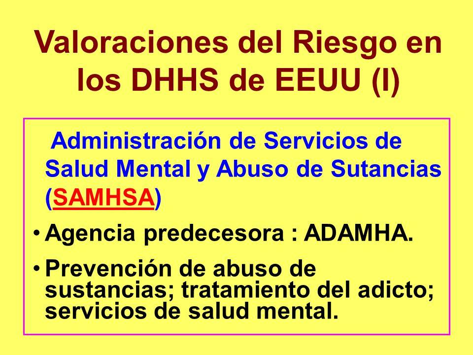 Valoraciones del Riesgo en los DHHS de EEUU (I) Administración de Servicios de Salud Mental y Abuso de Sutancias (SAMHSA)SAMHSA Agencia predecesora :