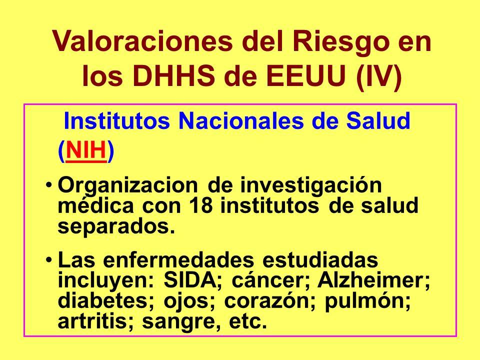 Valoraciones del Riesgo en los DHHS de EEUU (IV) Institutos Nacionales de Salud (NIH)NIH Organizacion de investigación médica con 18 institutos de sal