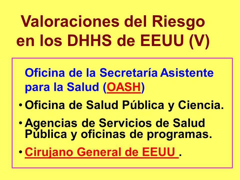 Valoraciones del Riesgo en los DHHS de EEUU (V) Oficina de la Secretaría Asistente para la Salud (OASH)OASH Oficina de Salud Pública y Ciencia. Agenci
