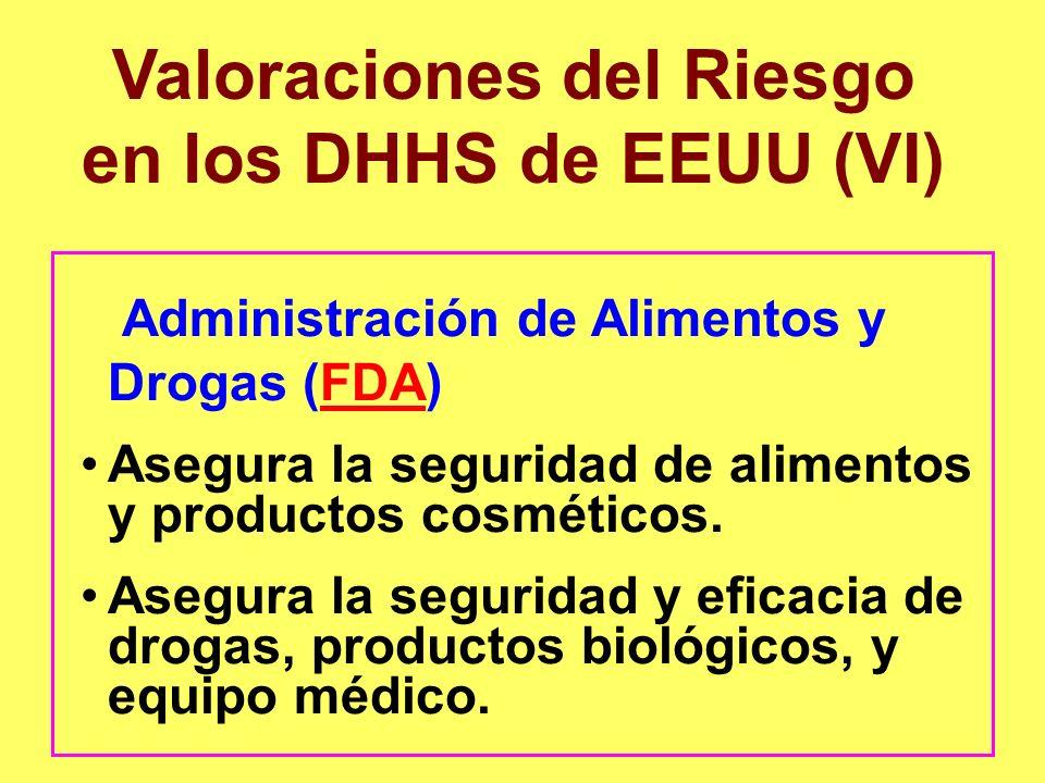 Valoraciones del Riesgo en los DHHS de EEUU (VI) Administración de Alimentos y Drogas (FDA)FDA Asegura la seguridad de alimentos y productos cosmético