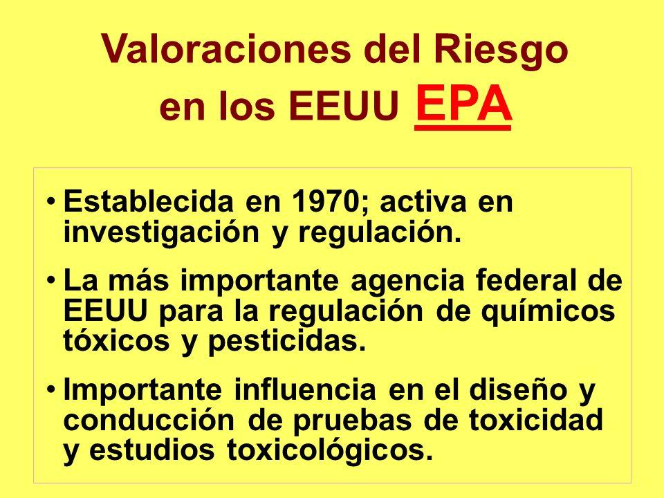 Valoraciones del Riesgo en los EEUU EPAEPA Establecida en 1970; activa en investigación y regulación. La más importante agencia federal de EEUU para l