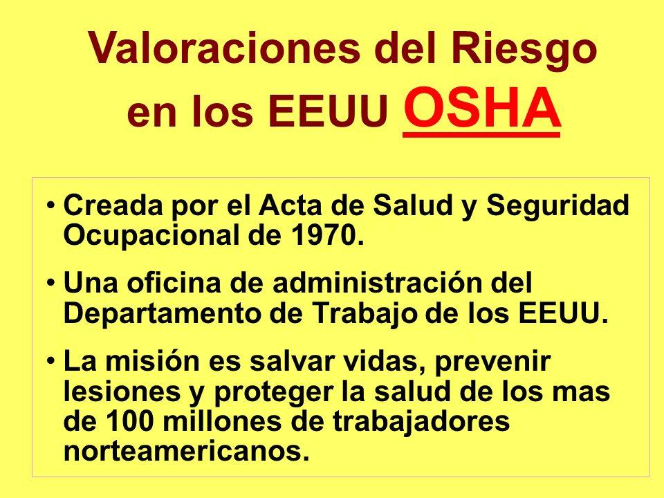 Valoraciones del Riesgo en los EEUU OSHA OSHA Creada por el Acta de Salud y Seguridad Ocupacional de 1970. Una oficina de administración del Departame