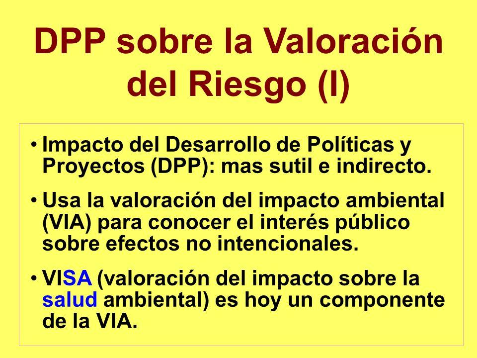 DPP sobre la Valoración del Riesgo (I) Impacto del Desarrollo de Políticas y Proyectos (DPP): mas sutil e indirecto. Usa la valoración del impacto amb