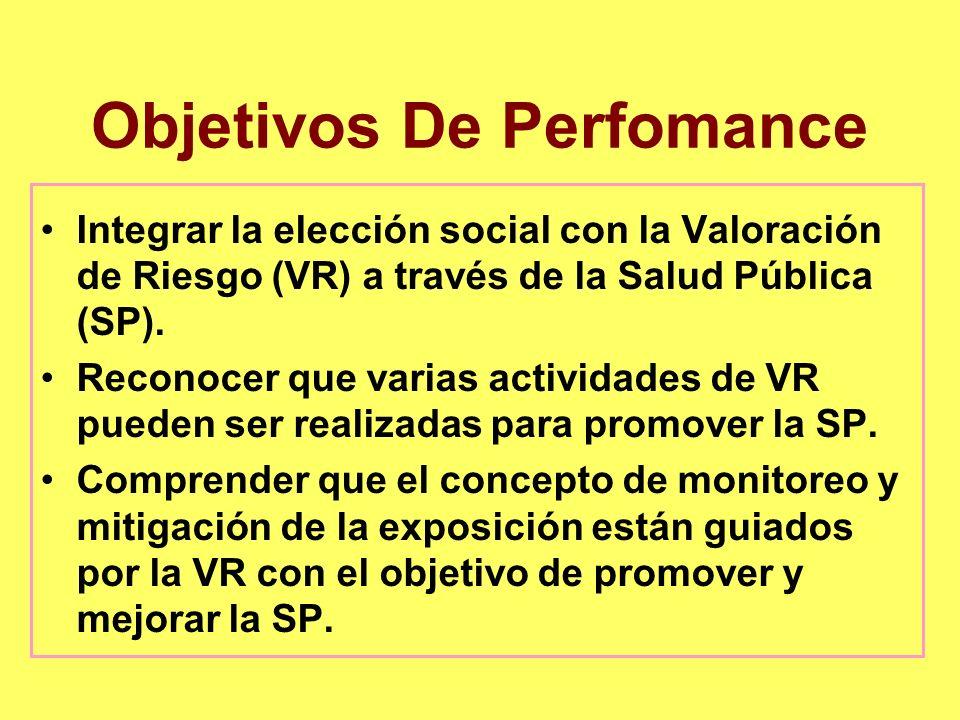 Objetivos De Perfomance Integrar la elección social con la Valoración de Riesgo (VR) a través de la Salud Pública (SP). Reconocer que varias actividad