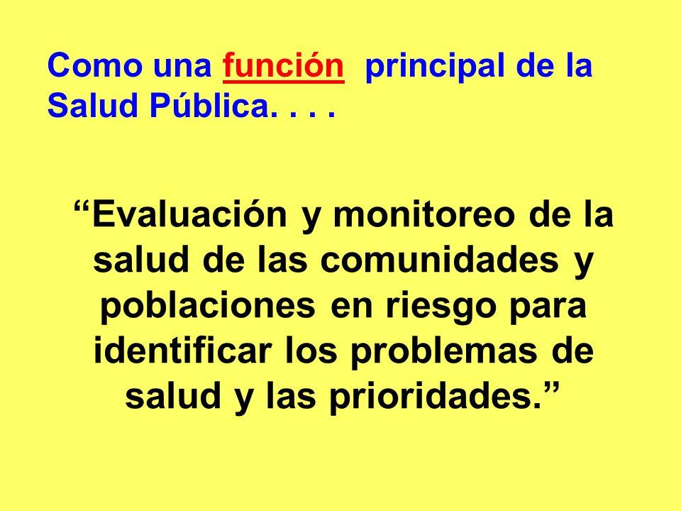 Como una función principal de la Salud Pública....función Evaluación y monitoreo de la salud de las comunidades y poblaciones en riesgo para identific