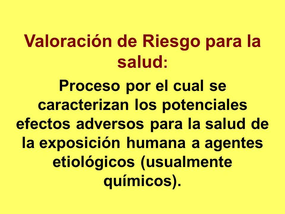 Valoración de Riesgo para la salud : Proceso por el cual se caracterizan los potenciales efectos adversos para la salud de la exposición humana a agen