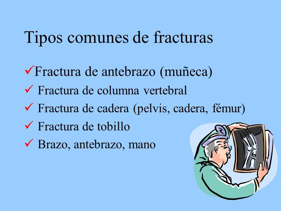 Tipos comunes de fracturas Fractura de antebrazo (muñeca) Fractura de columna vertebral Fractura de cadera (pelvis, cadera, fémur) Fractura de tobillo Brazo, antebrazo, mano