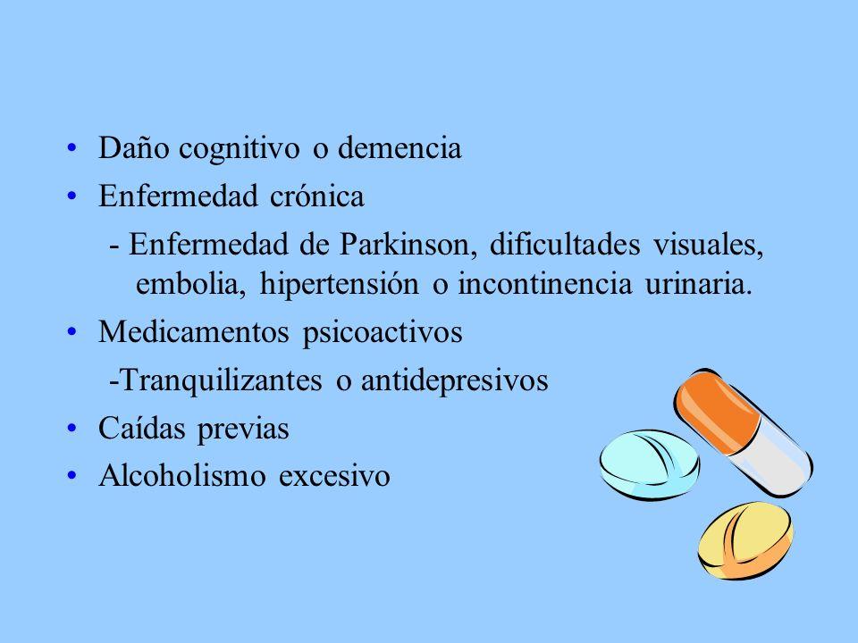 Daño cognitivo o demencia Enfermedad crónica - Enfermedad de Parkinson, dificultades visuales, embolia, hipertensión o incontinencia urinaria.