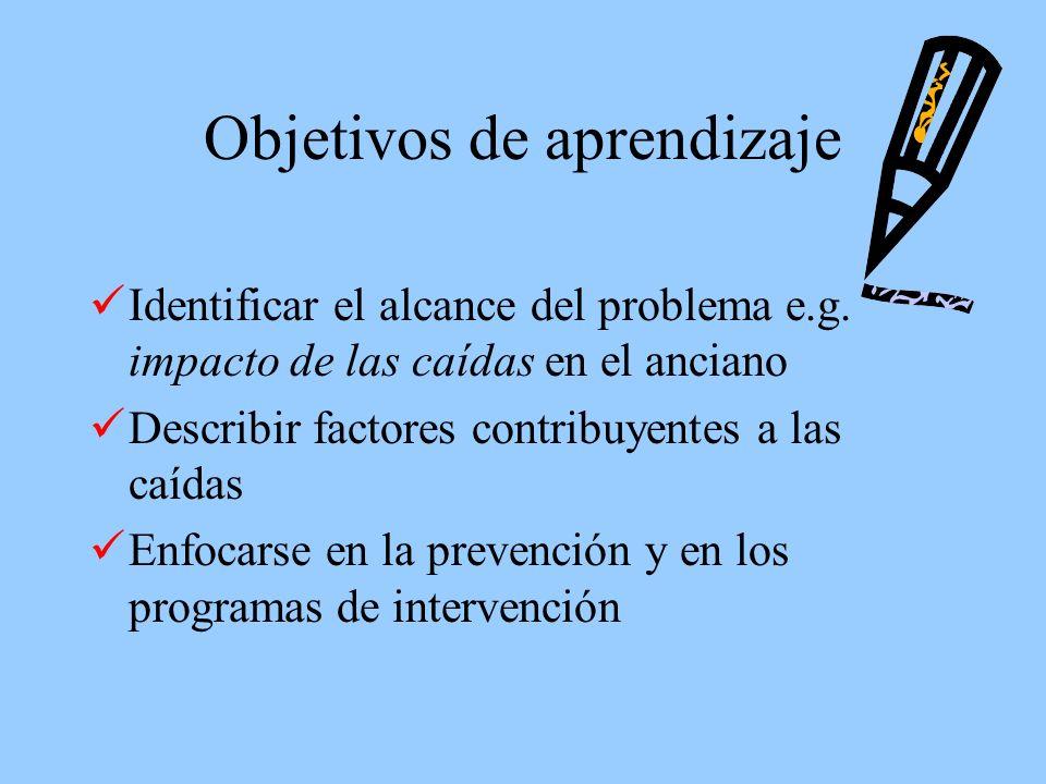 Objetivos a realizar Entender la seriedad del problema y los factores contribuyentes a las caídas y fracturas.