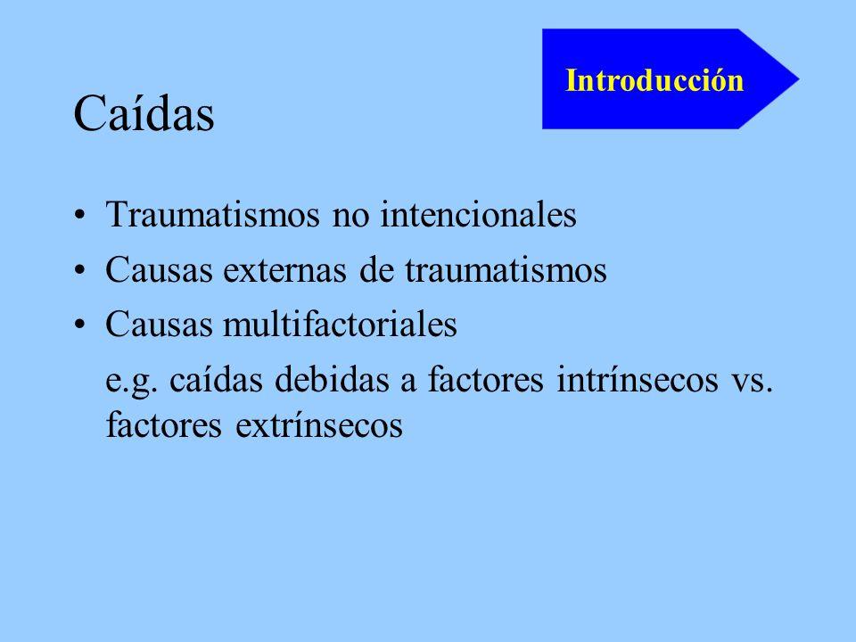 Caídas Traumatismos no intencionales Causas externas de traumatismos Causas multifactoriales e.g.