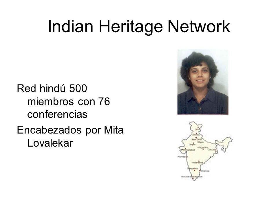 Indian Heritage Network Red hindú 500 miembros con 76 conferencias Encabezados por Mita Lovalekar