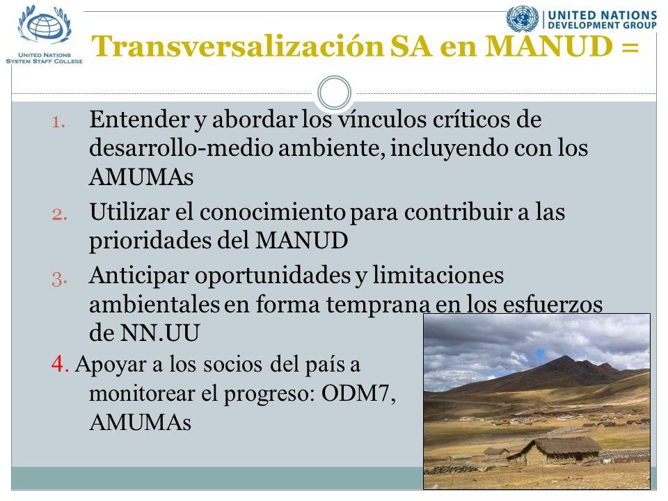 Transversalización SA en MANUD = 1.